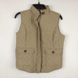 Van Heusen Womens Tan Quilted Zip Front Vest Small